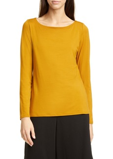 Eileen Fisher Bateau Neck Slim Tencel® Lyocell Top (Regular & Petite)