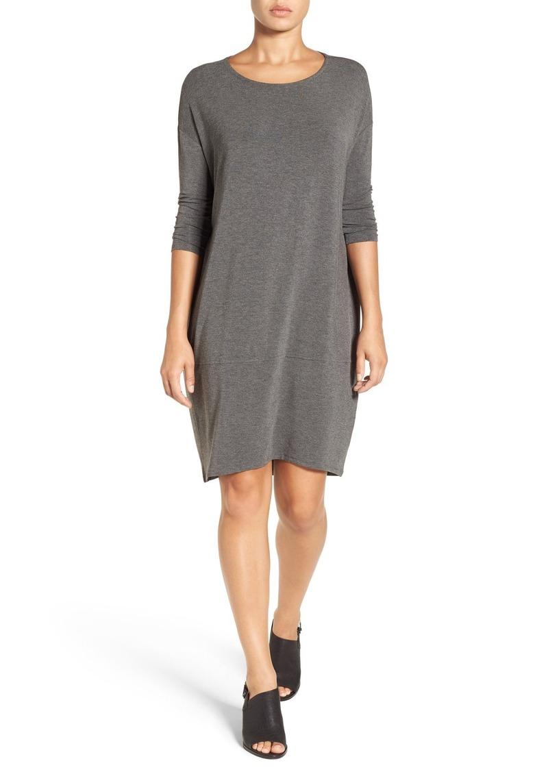 Eileen Fisher Bateau Neck Stretch Jersey Shift Dress