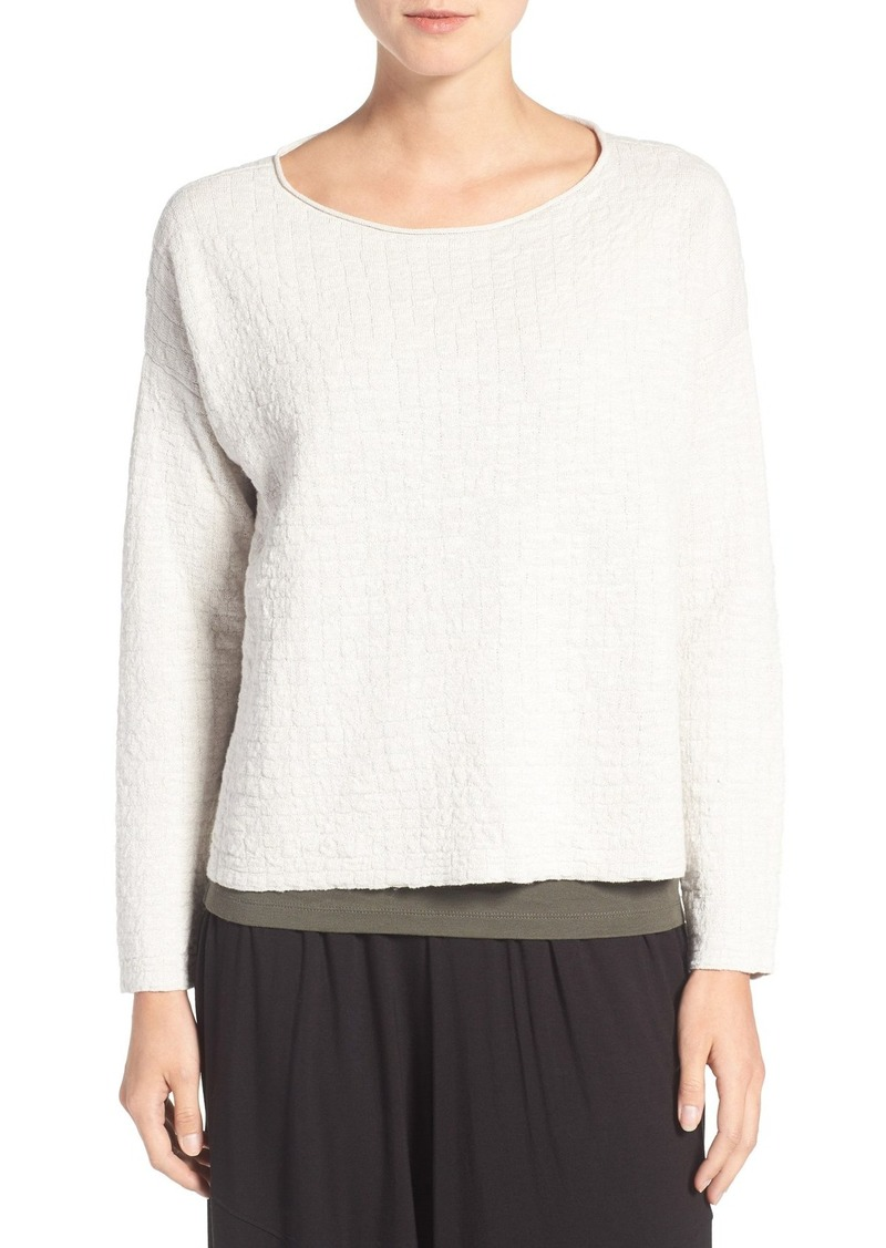 Eileen Fisher Bateau Neck Textured Organic Linen & Cotton Sweater (Regular & Petite)