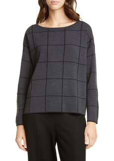 Eileen Fisher Bateau Neck Windowpane Sweater (Regular & Petite)
