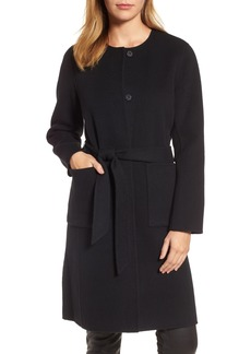 Eileen Fisher Boiled Wool Blend Wrap Coat
