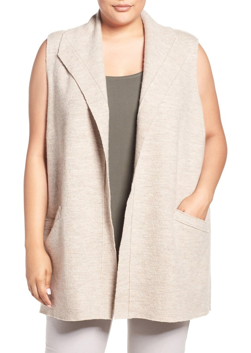 Eileen Fisher Boiled Wool Funnel Neck Vest (Plus Size)