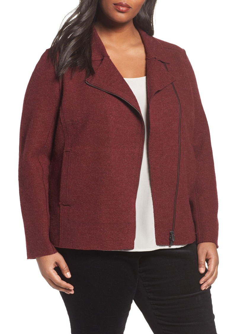 Eileen Fisher Boiled Wool Moto Jacket (Plus Size)