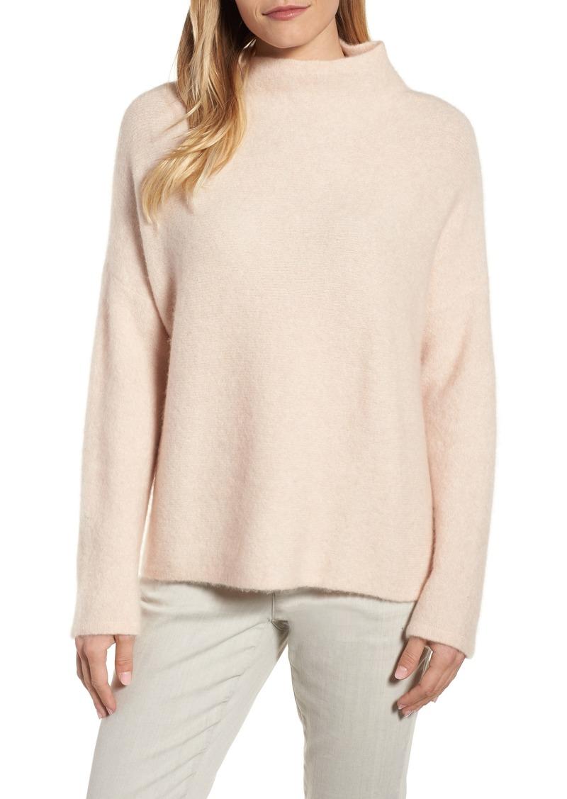 b9d7c16d0db Eileen Fisher  Bouclé Bliss  Cashmere   Silk Blend Funnel Neck Sweater.