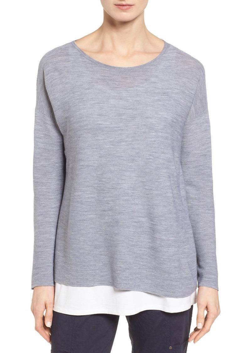 Eileen Fisher Eileen Fisher Boxy Ribbed Wool Sweater (Regular ...