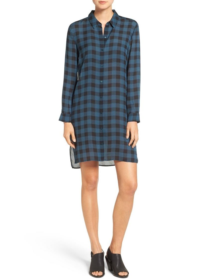 Eileen Fisher Buffalo Check Silk Shirtdress