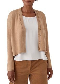 Eileen Fisher Button Front Extra Fine Merino Wool Cardigan