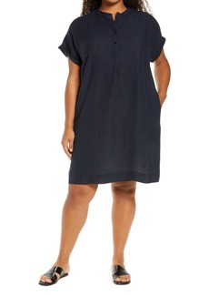Eileen Fisher Check Front Button Dress (Plus Size)