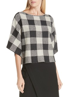 Eileen Fisher Check Plaid Organic Linen Top