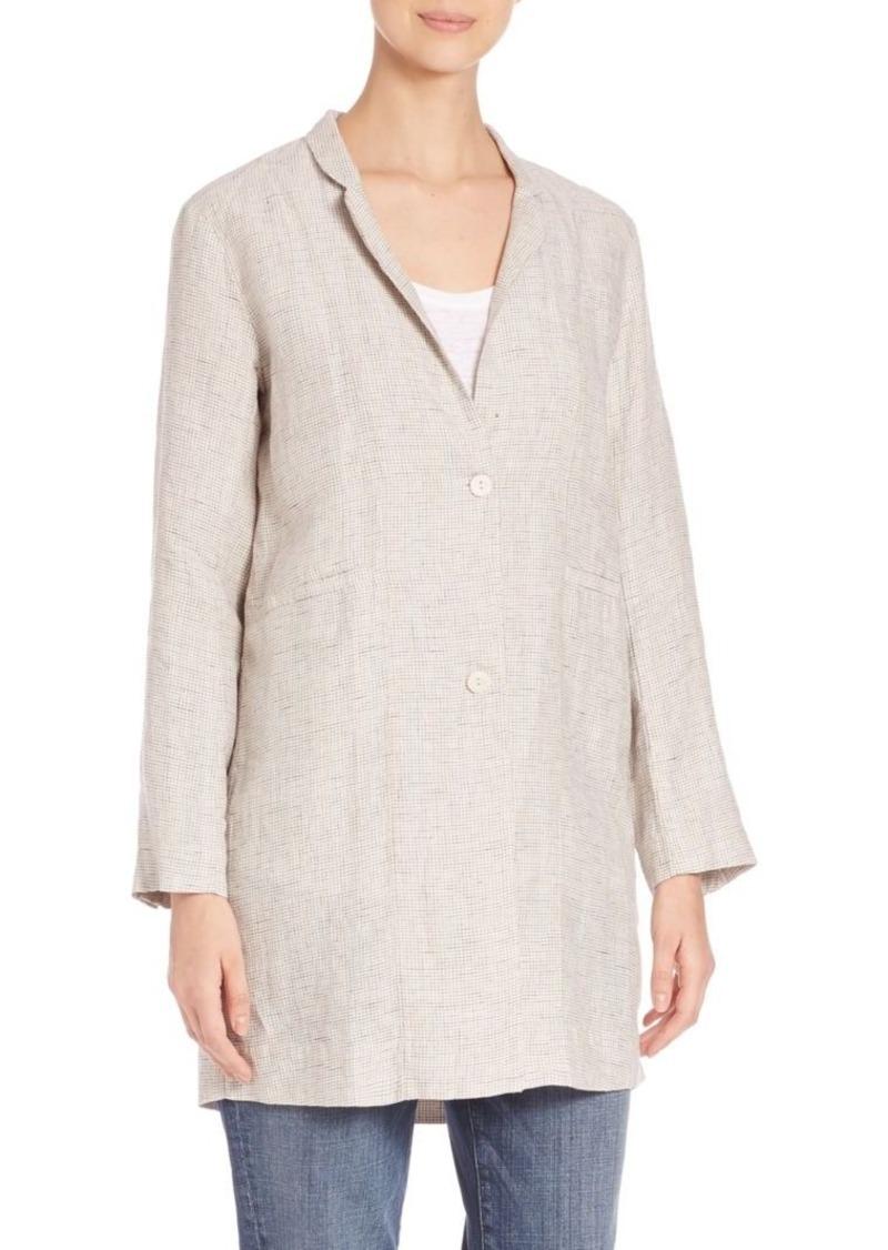 Eileen Fisher Check-Print Organic Linen Notch-Collar Jacket