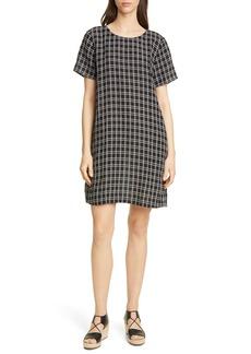 Eileen Fisher Check Print Shift Dress