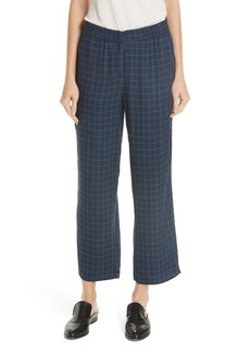 Eileen Fisher Check Straight Leg Silk Ankle Pants (Regular & Petite)