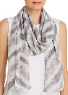 Eileen Fisher Chevron Tie-Dyed Stripe Silk Scarf