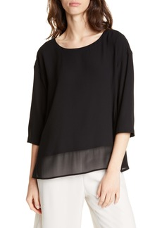 Eileen Fisher Chiffon Hem Silk Top (Regular & Petite)