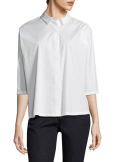 Eileen Fisher Classic Collar Crop Button-Down Shirt