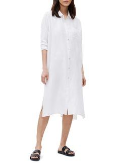 Eileen Fisher Classic Collar Long Sleeve Silk Shirtdress