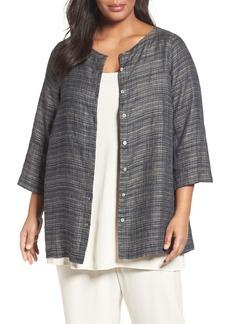 Eileen Fisher Coastline Organic Linen Round Neck Jacket (Plus Size)