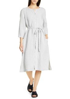 Eileen Fisher Collarless Organic Linen Shirtdress