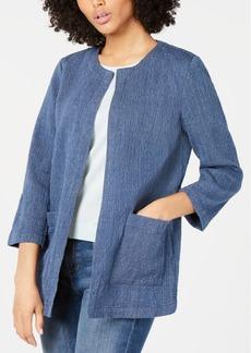 Eileen Fisher Collarless Pocket Topper Jacket