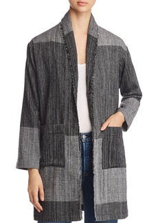Eileen Fisher Color Blocked Frayed Trim Jacket