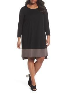 Eileen Fisher Colorblock Jersey Shift Dress (Plus Size)