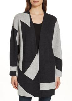 Eileen Fisher Colorblock Merino Wool Kimono Cardigan (Regular & Petite)