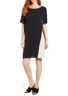 Eileen Fisher Colorblock Silk Georgette Crepe Dress (Regular & Petite)