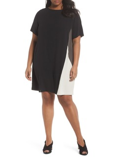 Eileen Fisher Colorblock Silk Shift Dress (Plus Size)
