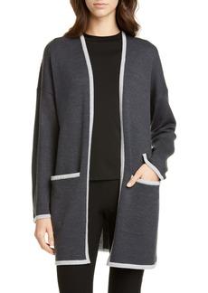Eileen Fisher Contrast Border Merino Wool Cardigan