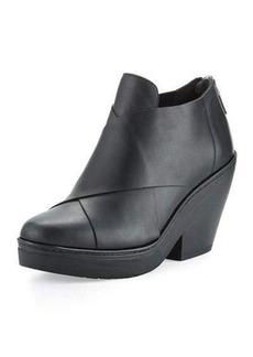 Eileen Fisher Cosmo Crisscross Leather Wedge Bootie