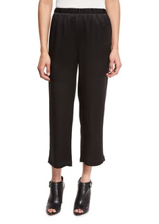Eileen Fisher Crepe-Back Satin Straight-Leg Cropped Pants
