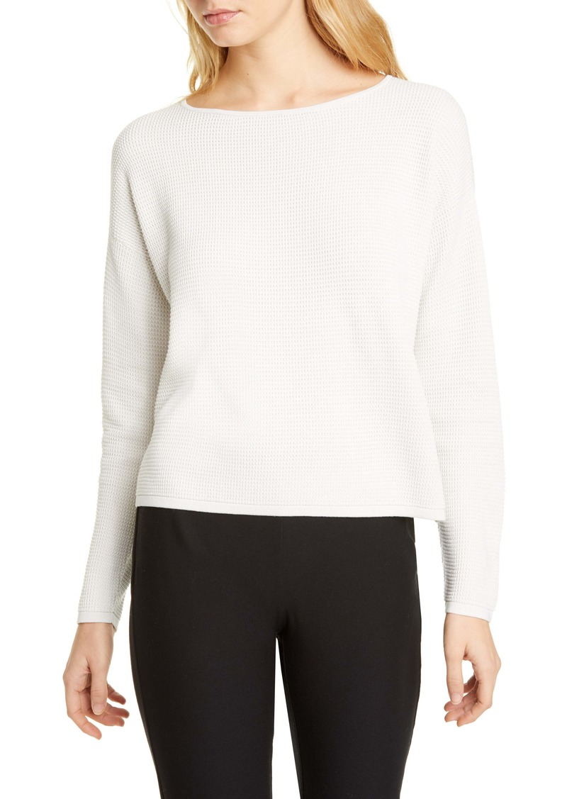 Eileen Fisher Crewneck Asymmetrical Silk Top