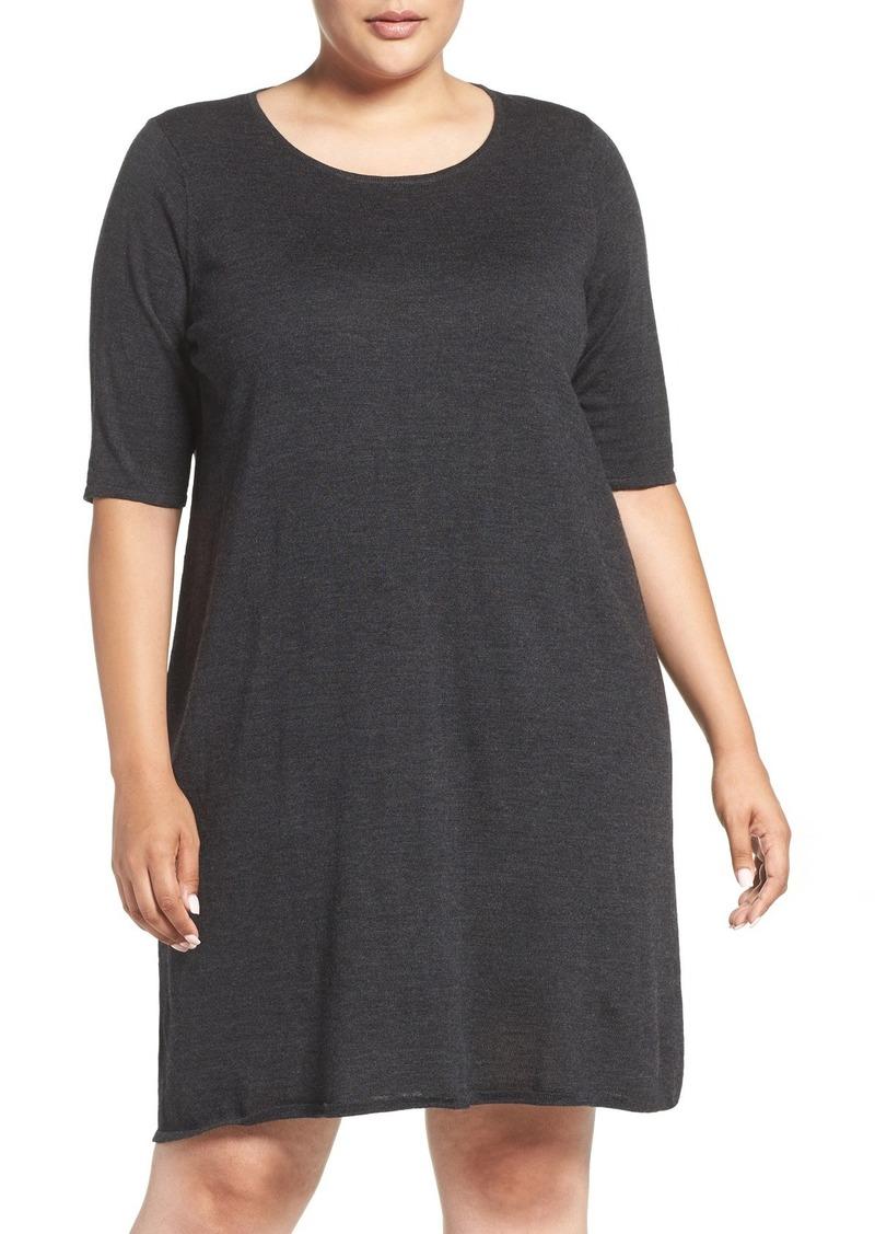 Eileen Fisher Crewneck Merino Jersey Sweater Dress (Plus Size)