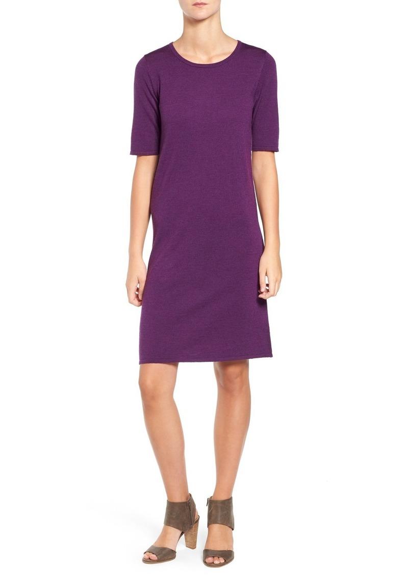 Eileen Fisher Crewneck Merino Jersey Sweater Dress (Regular & Petite)