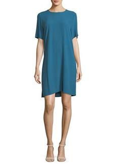 Eileen Fisher Crinkle Crepe Round-Neck Short-Sleeve Dress