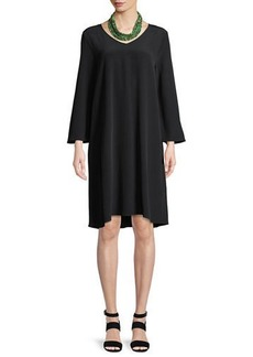 Eileen Fisher Crinkle-Knit Long-Sleeve Shift Dress