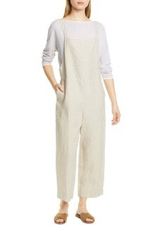 Eileen Fisher Crop Organic Linen Overalls (Regular & Petite)
