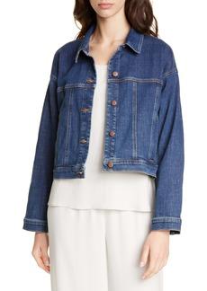 Eileen Fisher Crop Stretch Denim Jacket (Regular & Petite)