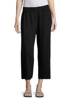 Eileen Fisher Cropped Cotton Gauze Straight-Leg Pants