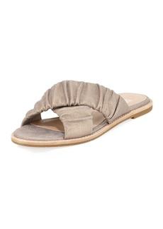 Eileen Fisher Cross Flat Metallic Suede Slide Sandal