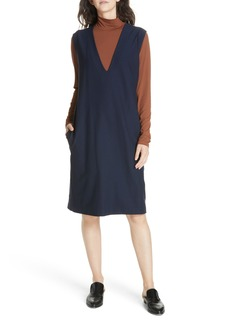 Eileen Fisher Deep V-Neck Knee Length Shift Dress (Regular & Petite)