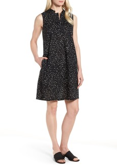 Eileen Fisher Dot Print Organic Cotton Shift Dress (Regular & Petite)