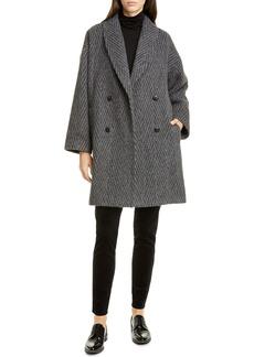 Eileen Fisher Double Breasted Alpaca & Wool Blend Coat