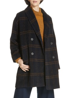 Eileen Fisher Double Breasted Plaid Alpaca Blend Coat (Regular & Petite)