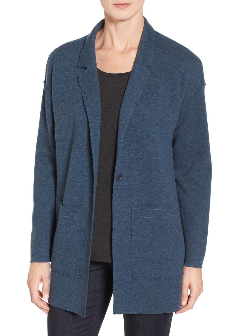 Eileen Fisher Double Knit Merino Wool Sweater Jacket