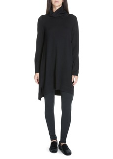 Eileen Fisher Drapey Turtleneck Wool Dress