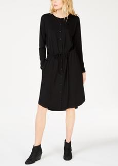 Eileen Fisher Stretch Jersey Drawstring-Waist Shirtdress