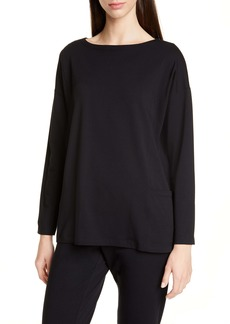 Eileen Fisher Drop-In Pocket Organic Cotton Blend Top