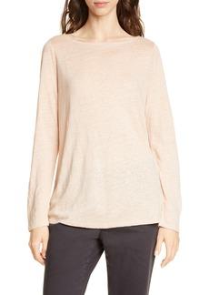 Eileen Fisher Drop Tail Hem Organic Linen Tunic (Regular & Petite)