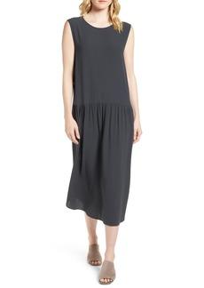 Eileen Fisher Drop Waist Silk Midi Dress